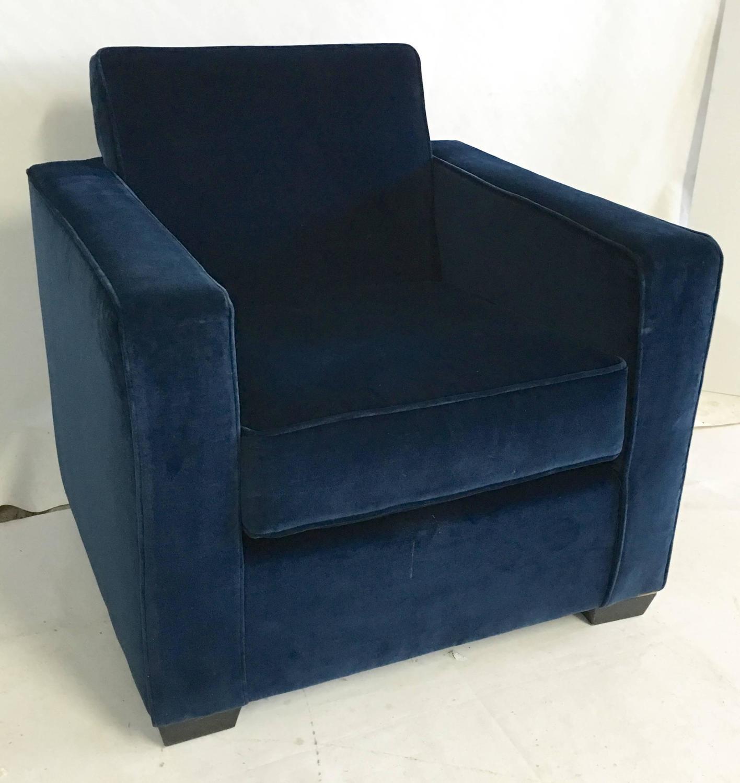 Ralph Lauren Art Deco Style Blue Velvet Club Chair For