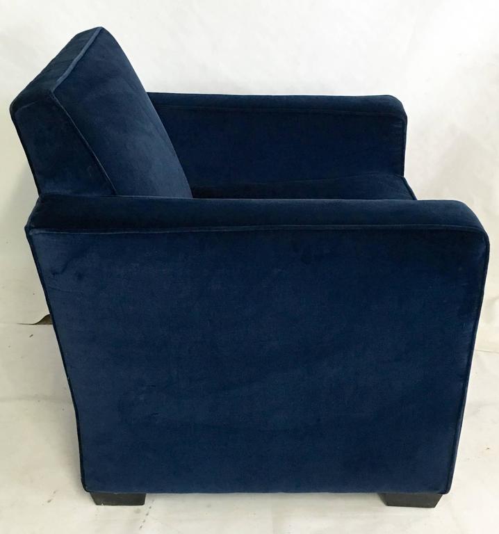 American Ralph Lauren Art Deco Blue Velvet Club Arm Chair For Sale