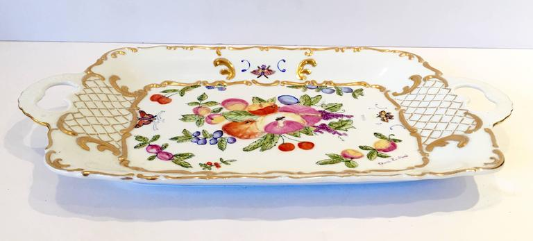 Vintage German Porcelain Two Handle Fruit Tray
