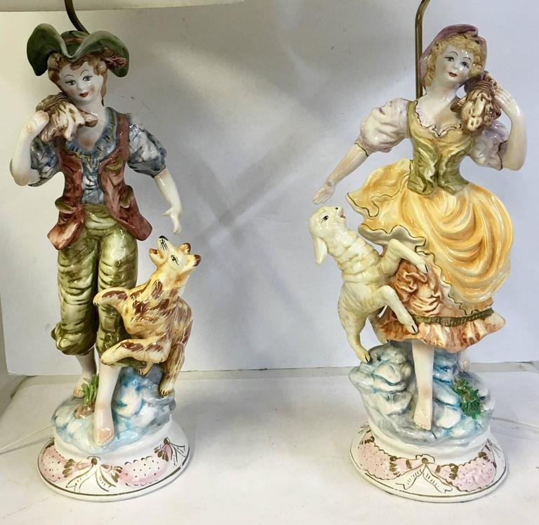 1950 S Pair Of Italian Porcelain Country Boy And Girl