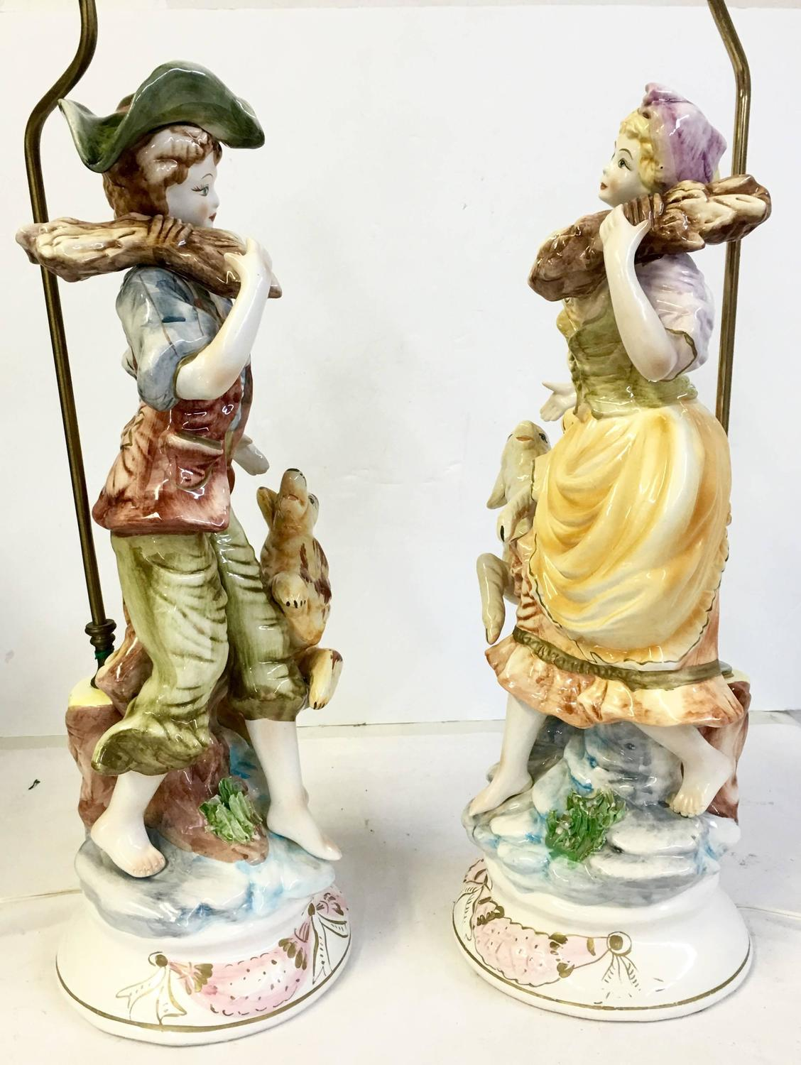 Vintage Pair Of Capodimonte Country Boy And Girl Lamps