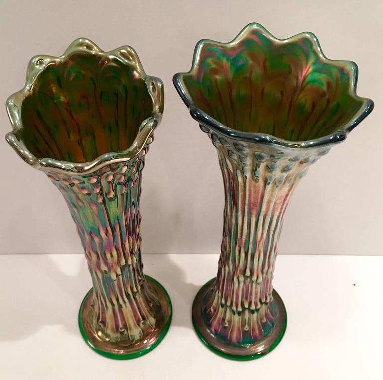 Antique Pair Of Fenton Green Art Glass Vases At 1stdibs