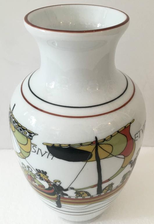 French Limoges Viking Motif Porcelain Vase By Bayeux At 1stdibs