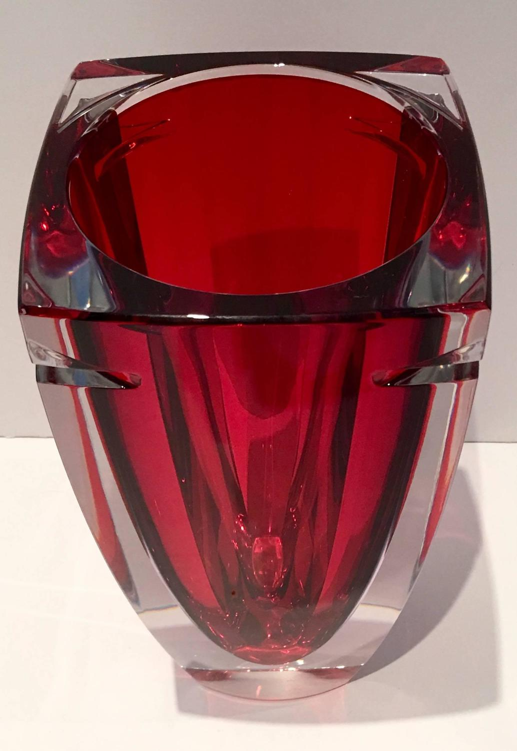 Waterford Red Crystal Quot Metra Quot Square Vase At 1stdibs