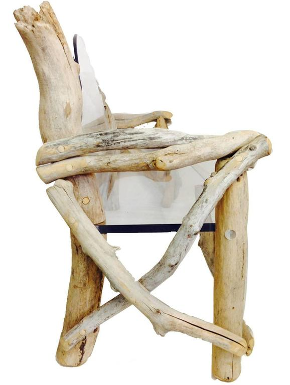 """Modern meets Baroque on this incredible one of a kind American Made vintage driftwood and 1"""" inch Lucite slab bench. This bench can be used indoors or out."""