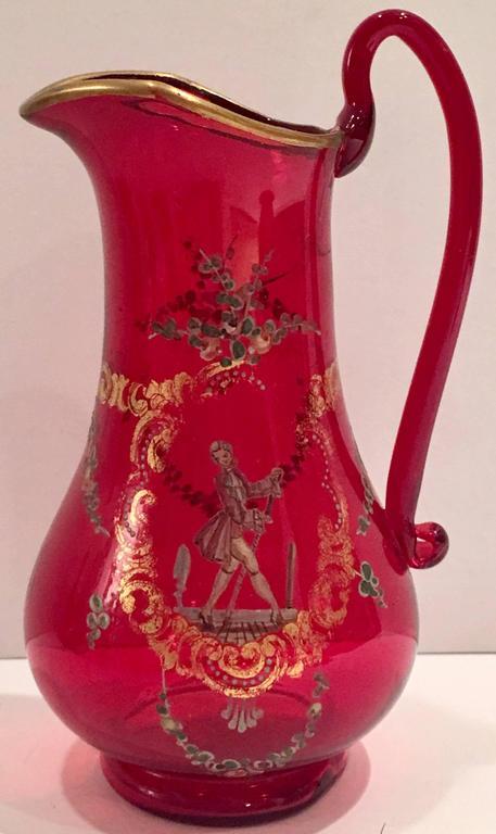Set Of 15 Ruby And 24 Karat Gold Venetian Glass Tea Set At 1stdibs