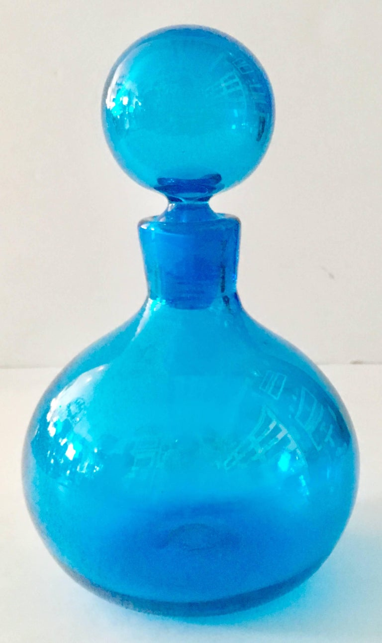 Mid century modern blenko glass round blue decanter for sale at vintage blenko glass blown glass blue round and bulbous decanter with stopper reviewsmspy