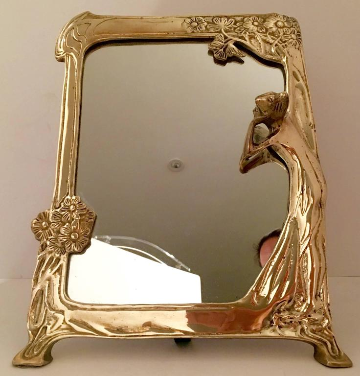 Vintage Brass Art Nouveau Vanity Mirror At 1stdibs