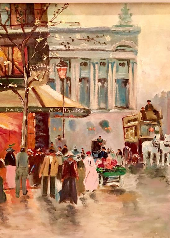 20th Century Mid-Century Original Oil Painting Paris Street Scene By, N. Proudlock For Sale