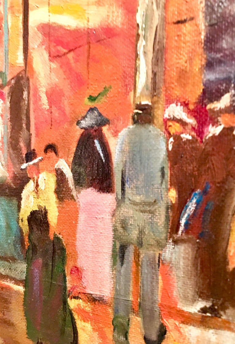 Mid-Century Original Oil Painting Paris Street Scene By, N. Proudlock For Sale 1