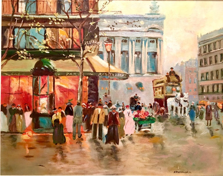 Mid-Century Original Oil Painting Paris Street Scene By, N. Proudlock In Excellent Condition For Sale In West Palm Beach, FL