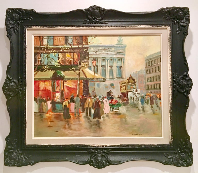 Mid-Century Impressionist Original Oil On Canvas Painting Signed Lower Right, N. Proudlock.   Fantastic execution using a combination of vivid and muted tones. Framed in a carved painted black wood frame. Image size, 20
