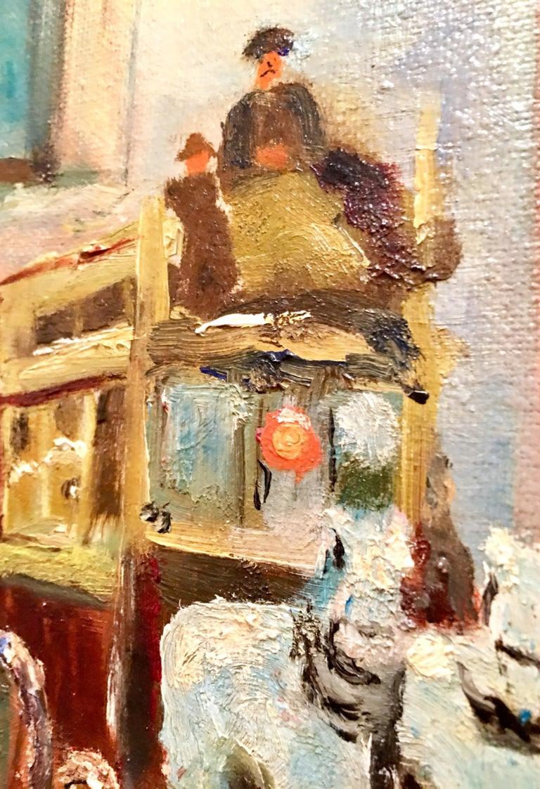 Mid-Century Original Oil Painting Paris Street Scene By, N. Proudlock For Sale 3