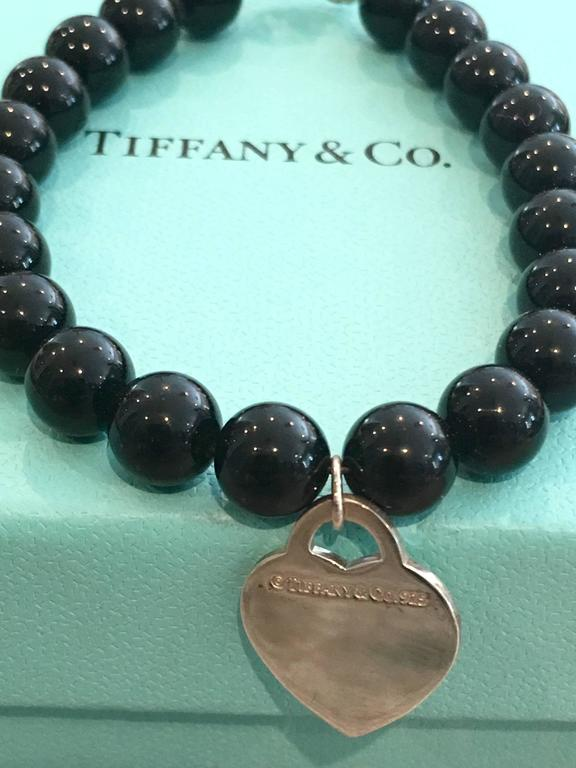 bd6b490cd 20th Century Tiffany & Co. Silver Heart Tag 7.5' Black Onyx Bead Bracelet  For