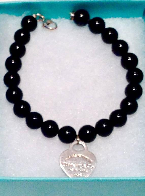 ac083db1e American Tiffany & Co. Silver Heart Tag 7.5' Black Onyx Bead Bracelet ...