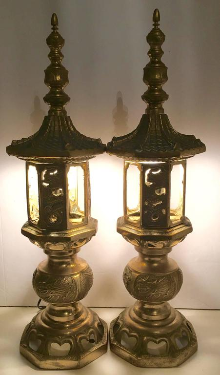 Vintage Chinese Brass Pagoda Temple Table Lamp Pair At