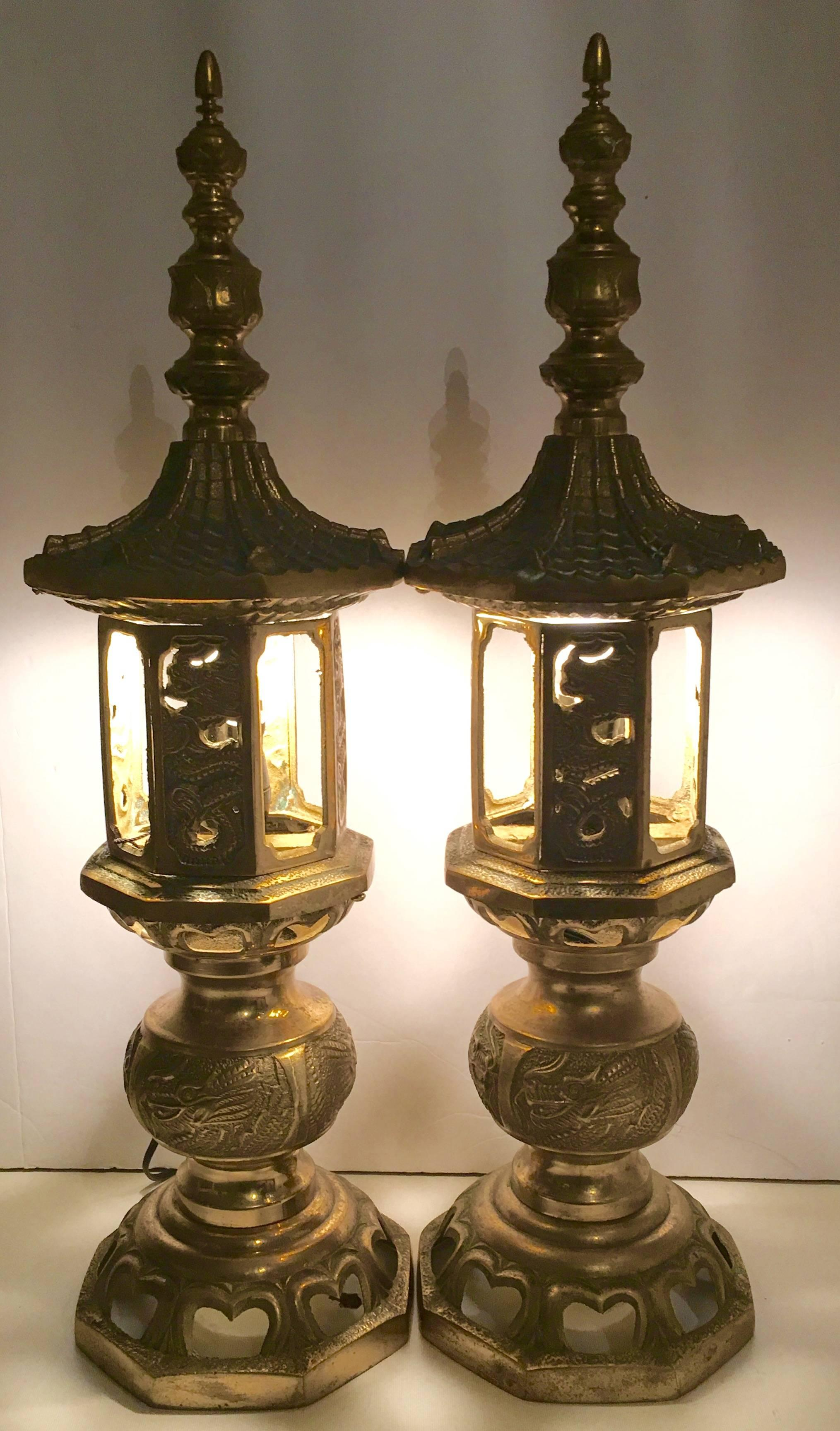 Vintage Chinese Brass Pagoda Temple Table Lamp, Pair