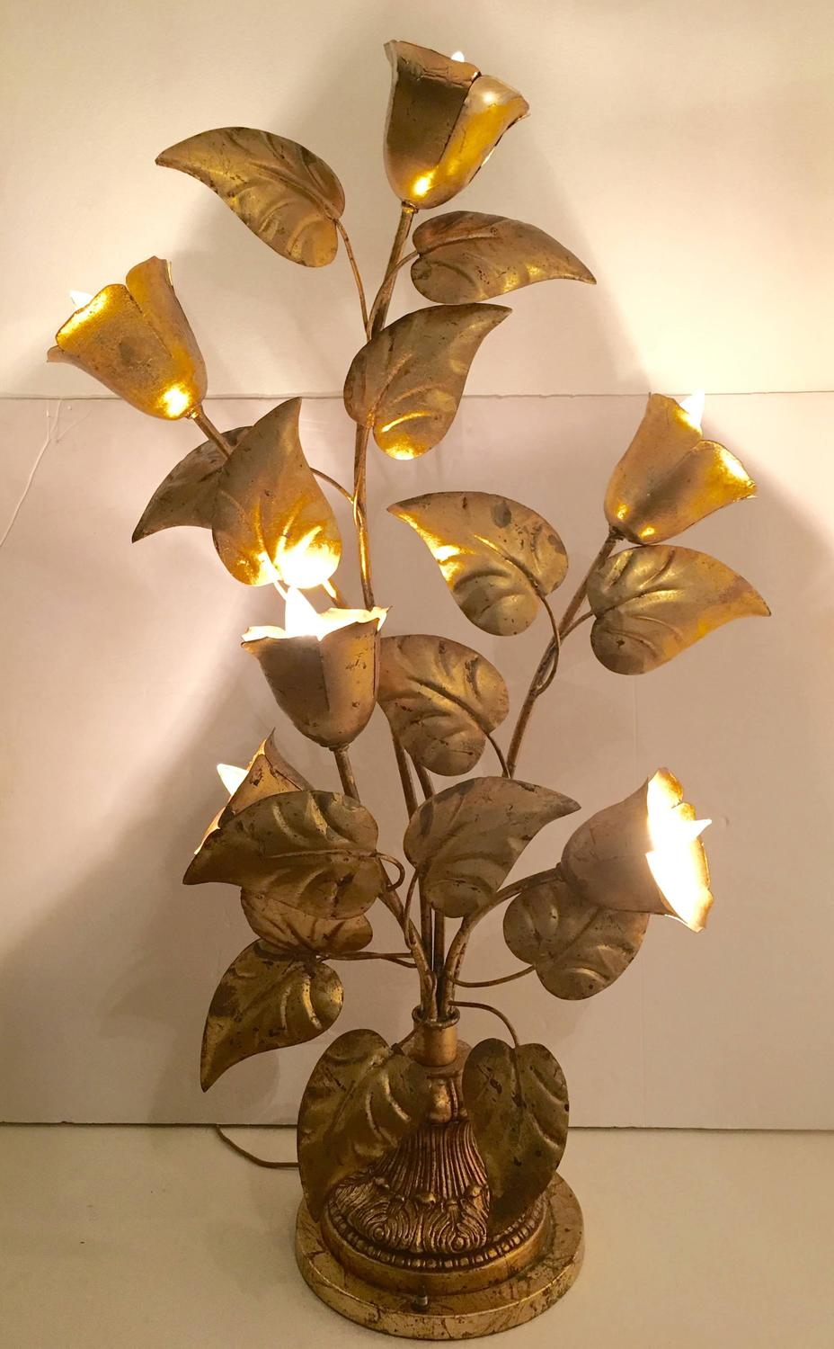 Italian Gold Leaf Six Light Floor Branch And Leaf Lamp At