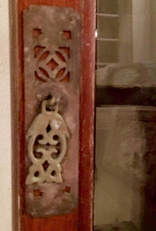 Antique Pair Of Chinese Carved Mahogany and Smoke Glass Windows For Sale 2