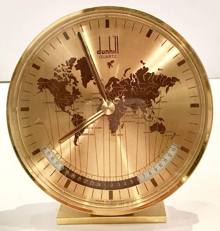 Alfred dunhill art deco world clock by kienzle germany at 1stdibs alfred dunhill world quartz desk clock by kienzle germany features gold brass frame and gumiabroncs Image collections