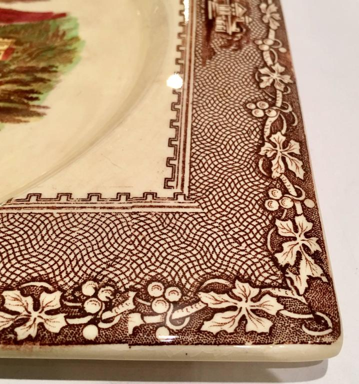 Mid-20th Century Royal Staffordshire Pair Of Transferware Square Plates For Sale 2
