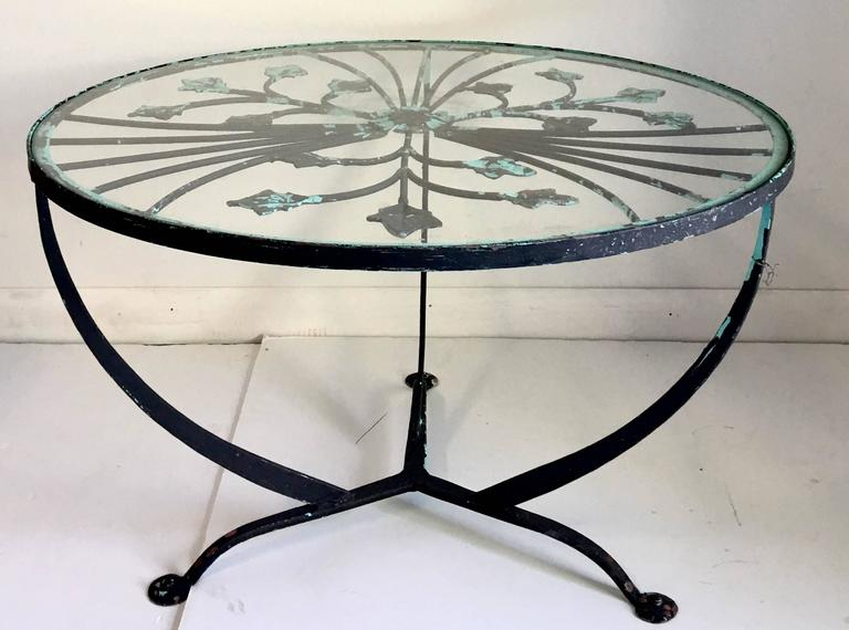 Vintage Hand Forged Wrought Iron French Art Deco Style Foliate Gl Top Tail Table