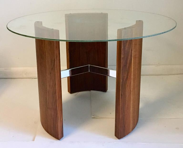 Mid Century Modern Vladimir Kagan Radius Walnut And Chrome