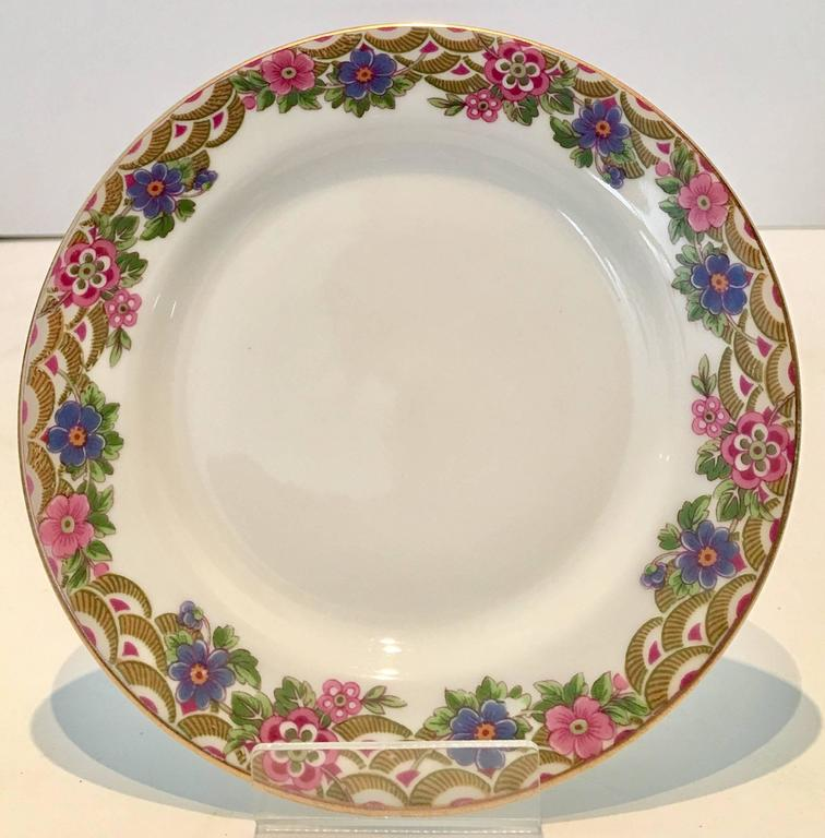 French Art Deco Limoges Porcelain \u0026 24K Gold Dinnerware S/25 By Jean Pouyat : french ceramic dinnerware - pezcame.com