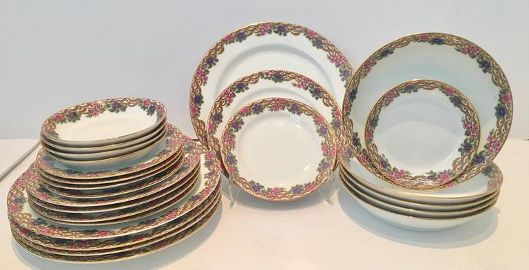 1920\u0027S French Art Deco Limoges France hand painted porcelain dinnerware set of five-5 piece & French Art Deco Limoges Porcelain and 24K Gold Dinnerware S/25 By ...