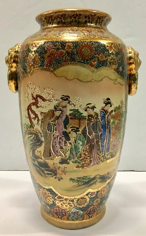Japanese Satsuma Moriage Double Sided Hand Painted Lion Handle Vase At 1stdibs