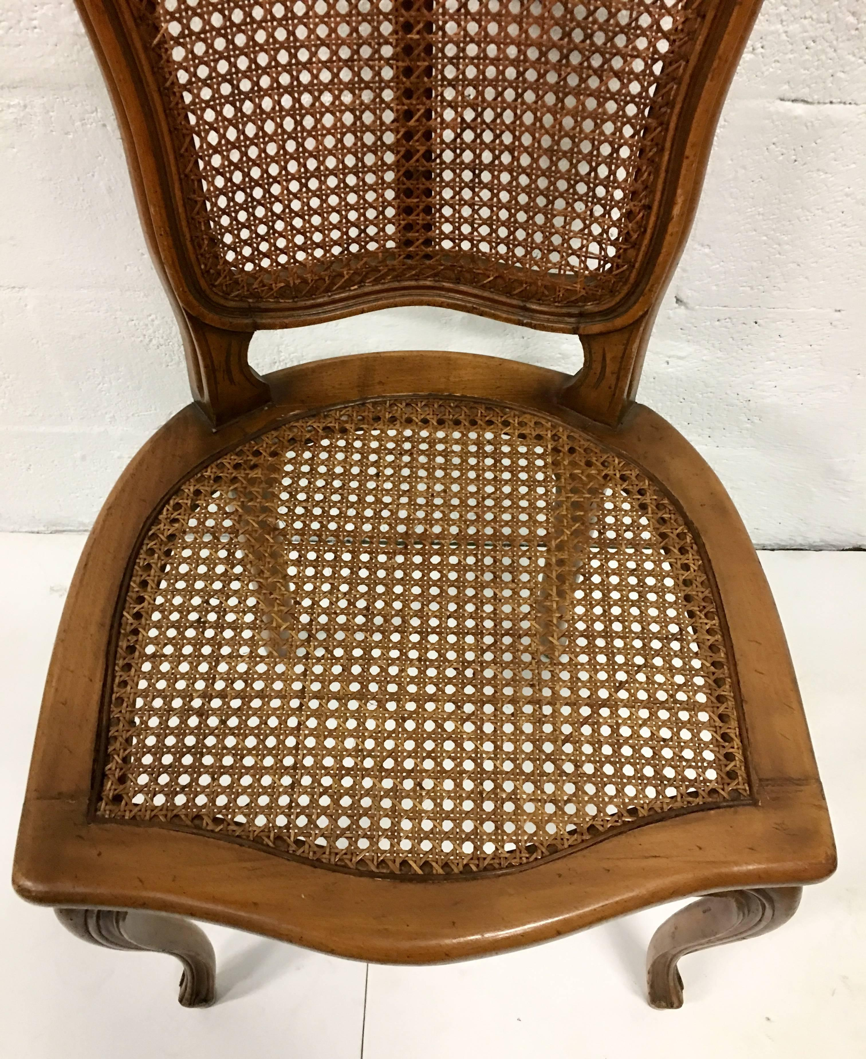 Mid Century Pair Of French Style Carved Wood U0026 Cane Chairs For Sale 2