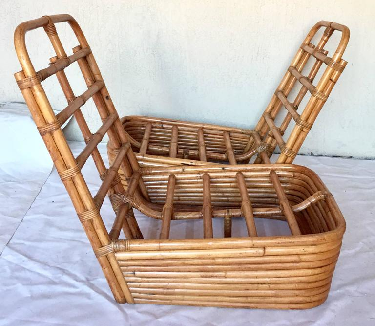 Charmant Modern 1950s Paul Frankl Rattan Reed Low Slipper Chair, Pair For Sale