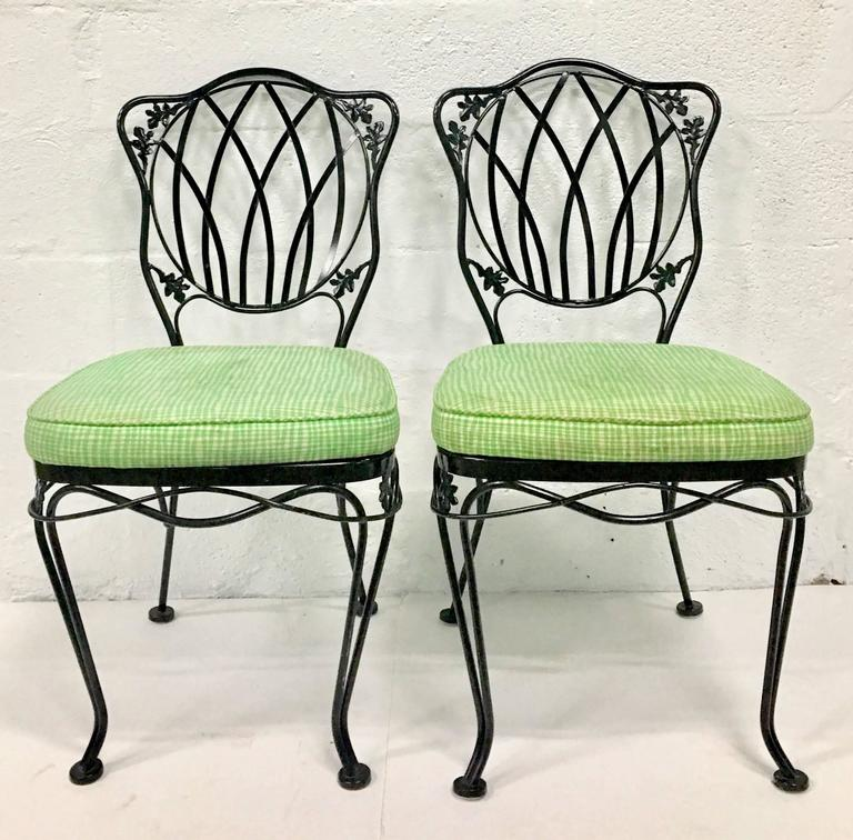 1950s Set of Five Wrought Iron Mesh Chairs and Cushions by