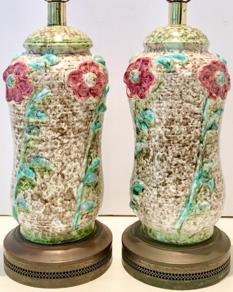 Hand-Painted Pair Of Mid-Century Organic Form Ceramic Pottery Lamps For Sale