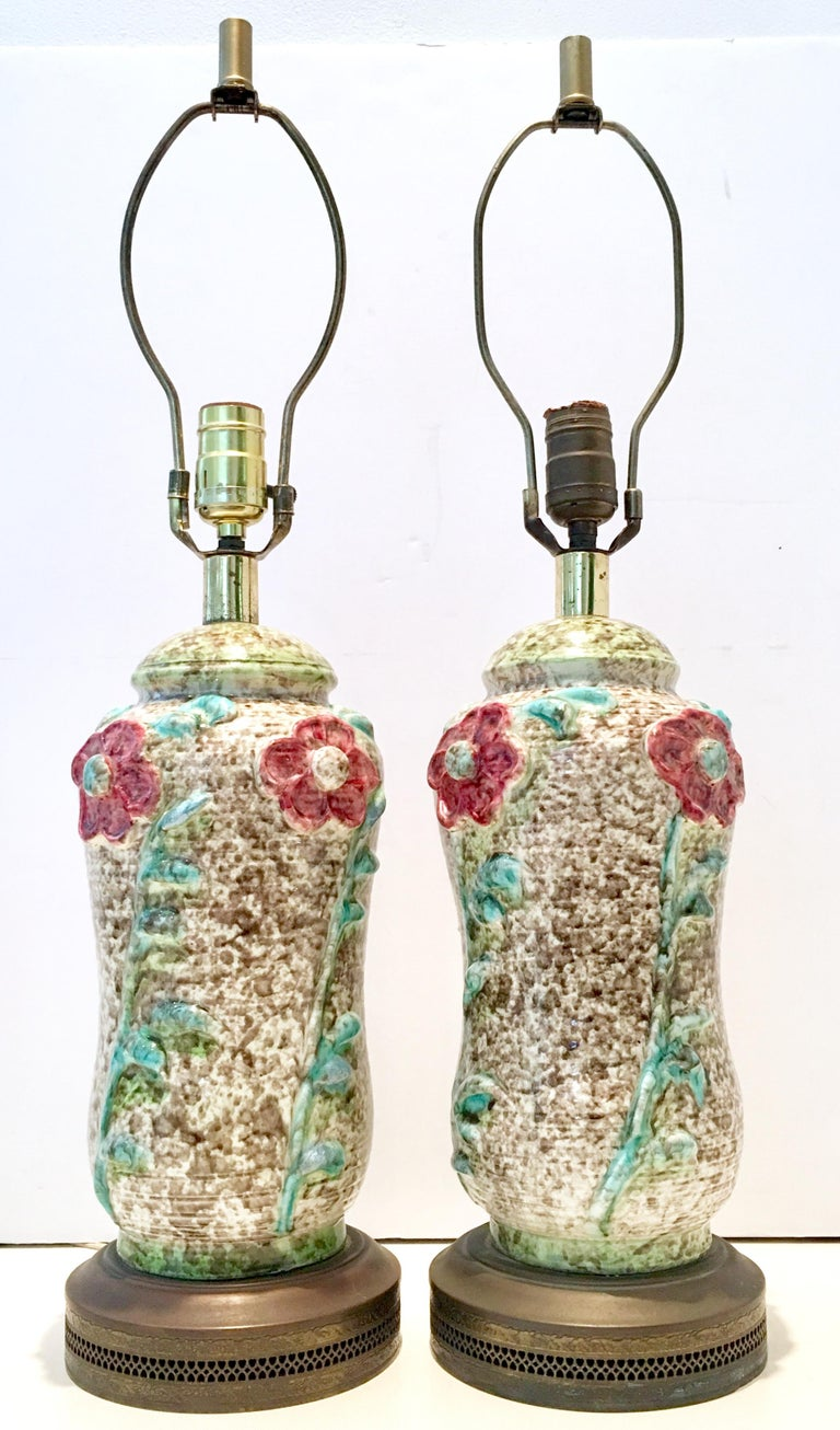 Art Nouveau Pair Of Mid-Century Organic Form Ceramic Pottery Lamps For Sale