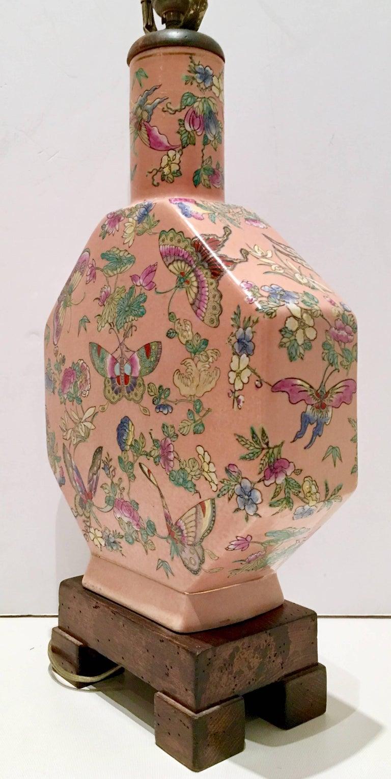 Antique Famille Porcelain Hand Painted Quot Butterfly Quot Lamp