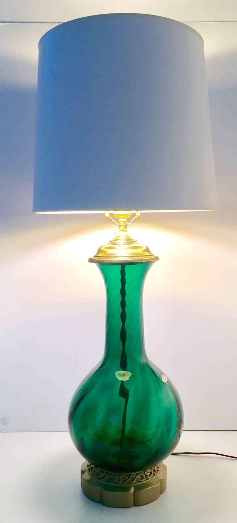 Blenko Glass Optic Emerald Green Lamp 4