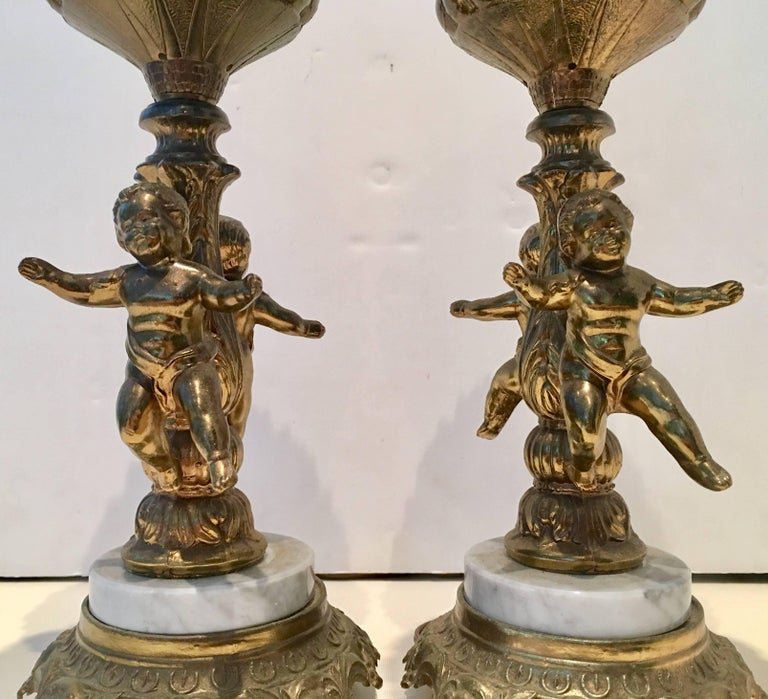 Pair Of French Style Bronze Ormolu And Marble Putti