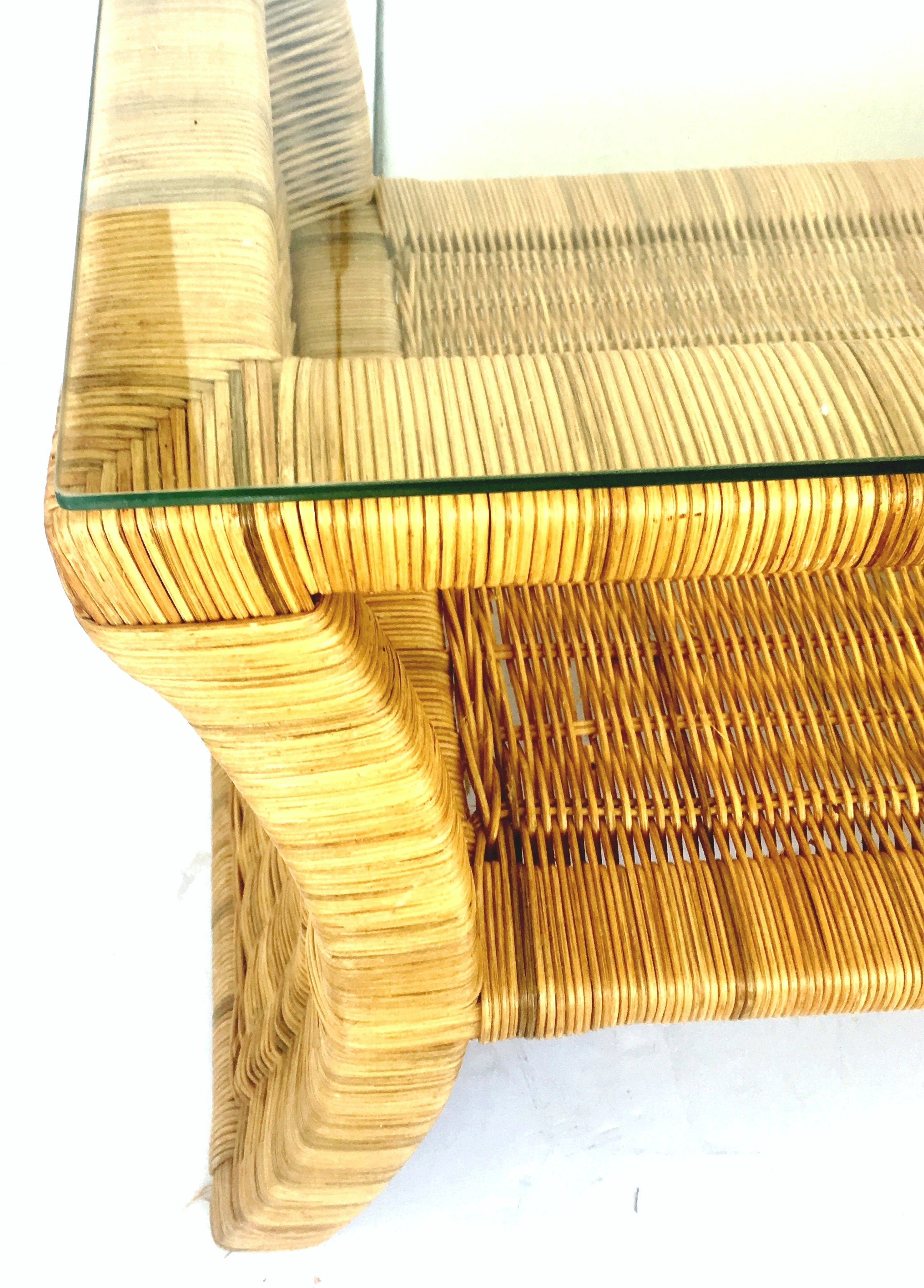 20th Century Pair Of Woven Rattan Gl Top Side Tables