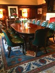 Antique Dining Table Ten Victorian Chairs Leather Extending Large Regal