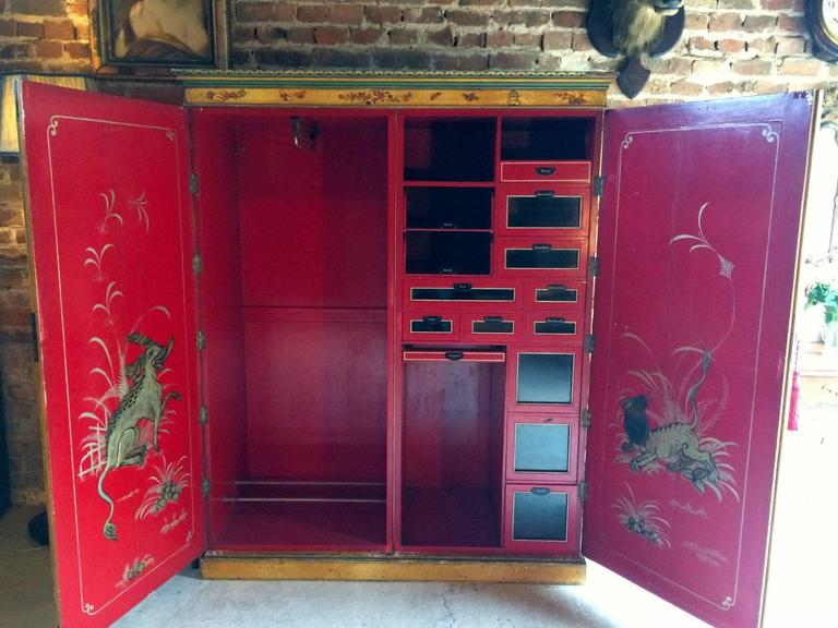 Antique Chinoiserie Wardrobe Armoire Lacquer Oriental ...