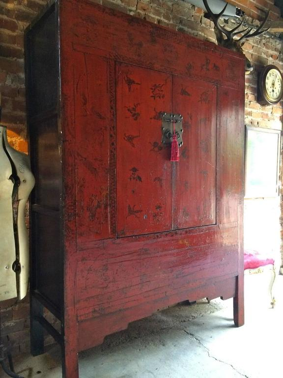 Antique Chinoiserie Wardrobe Armoire Lacquered Oriental ...