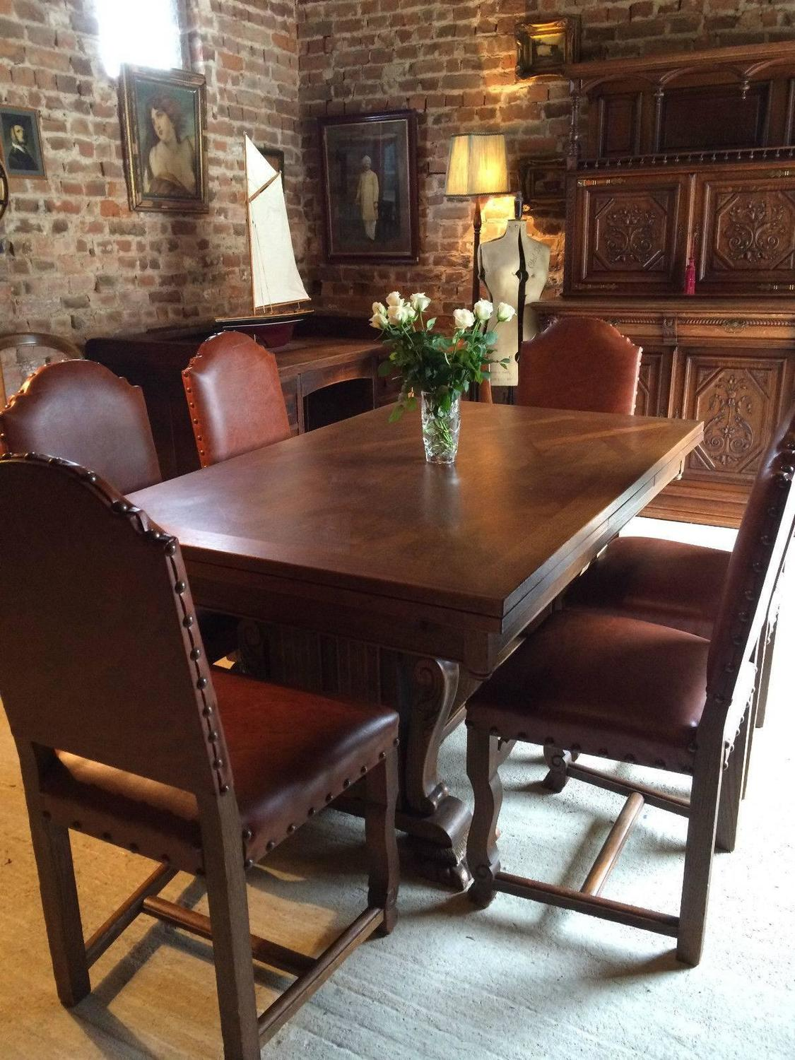 Antique Style Oak Dining Table Extending Six Chairs Seats 12 French At 1stdibs