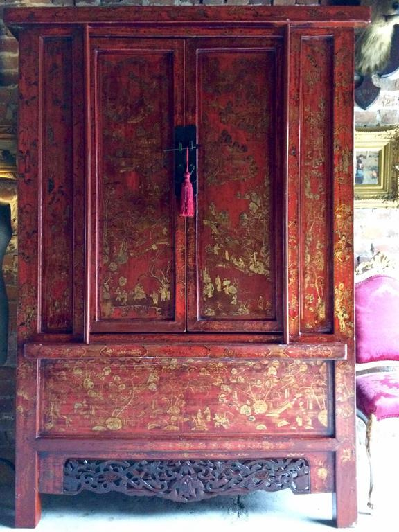 Antique Chinoiserie Wardrobe Armoire Lacquered Oriental