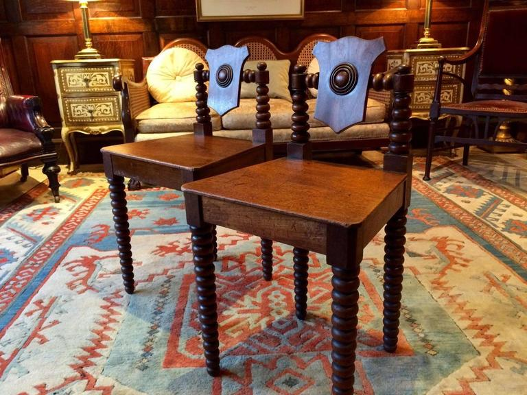 Pair Antique Hall Chairs Regency Mahogany Early 19th Century, circa 1811 In Excellent Condition For Sale In Longdon, Tewkesbury