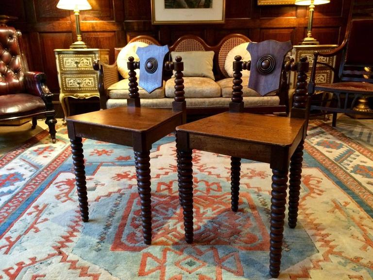 Pair Antique Hall Chairs Regency Mahogany Early 19th Century, circa 1811 For Sale 1