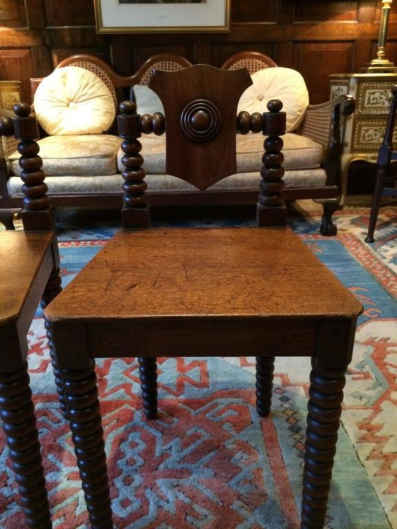 Pair Antique Hall Chairs Regency Mahogany Early 19th Century, circa 1811 For Sale 3