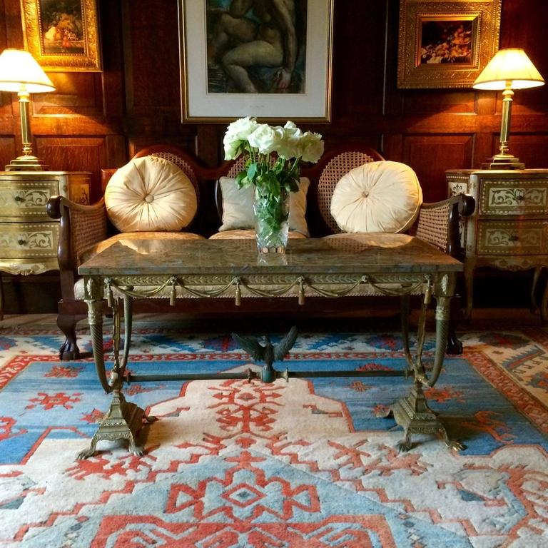 Marble Coffee Table Ornate: Ornate French Coffee Table Marble Brass Rectangular