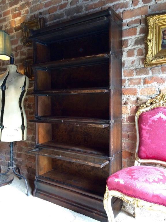 Original Globe Wernicke Oak Bookcase Stacking Gunn Five