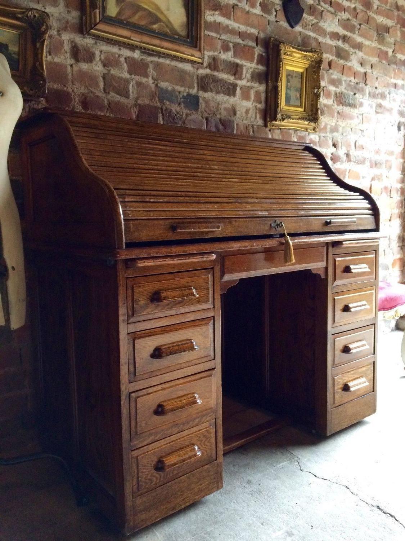 Antique Roll Top Desk Golden Oak Tambour Front Edwardian